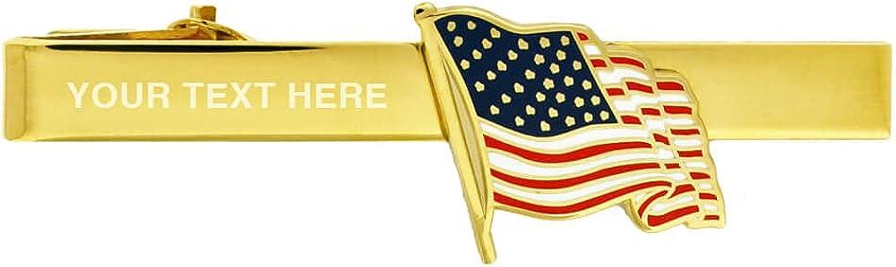 PinMart Patriotic American Flag Engravable Tie Clip Bar - Gold