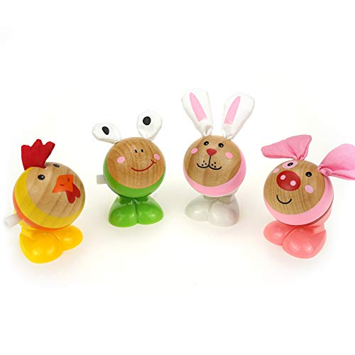 LITTLE BESSN Wooden Wind-up Jumping Farm Animals Toy, Perfect for Easter Basket Stuffers, Easter Egg Fillers, Kid's Gifts, Goodies Bag (4pcs)