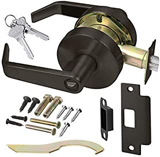 Commercial Cylindrical Lever Heavy Duty Non-Handed Grade 2 Door Handle Lawrence LH5304L (Keylock/Entrance, Oil Rubbed Bronze (US10B))