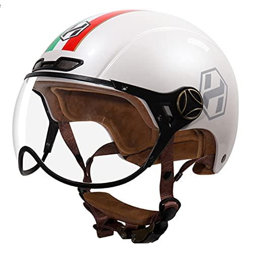 Casco Abierto Para Motocicleta, Aprobado Por DOT, Ciclomotor 3/4, Medio Casco Retro Con Visera Para Hombres Adultos, Mujeres, Transpirable Y Liviano H1,XL