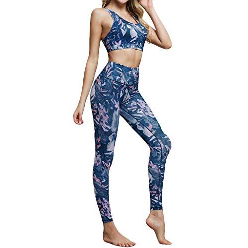 Yesmile Señoras Monos Impresas Yoga Pantalones Traje Yoga Correr Ropa Interior Deportiva + Pantalones Secado Rápido