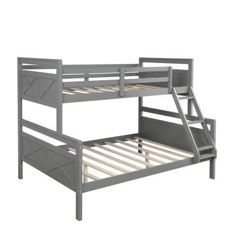 TAHMM Blanco (nuevo), barandilla de seguridad, dos cajones de almacenamiento, similitud sobre toda la litera con escalera (color: gris, tamaño: sin cajón)