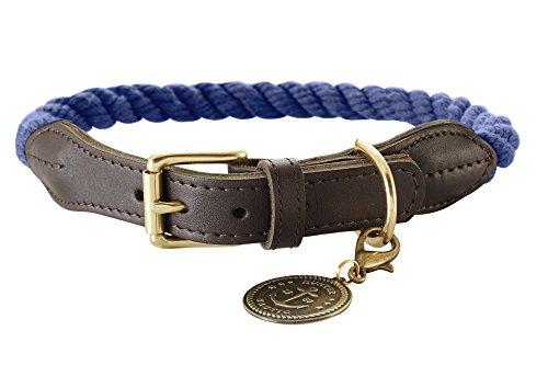 HUNTER List Hundehalsband, Tau, Leder, maritim, strapazierfähig, wetterfest, geschmeidig, 60 (L), dunkelblau