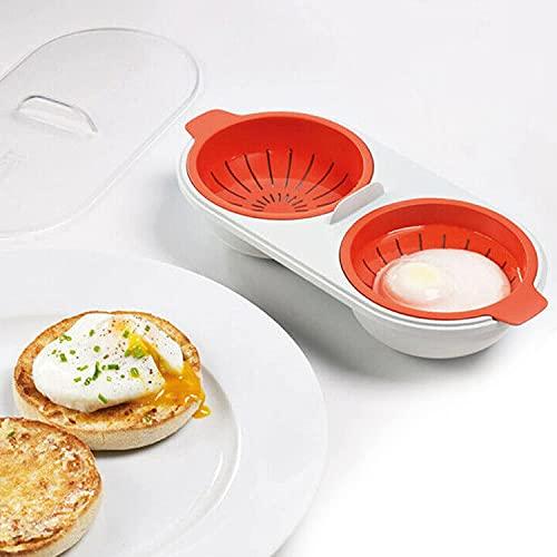 Draining Egg Boiler, Eggs Poacher Cup Microwaveable, Double Cup Egg Cooker...
