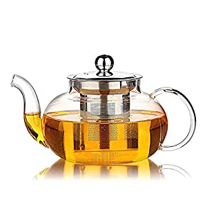 Hiware Good Glass Teapot with Stainless Steel Infuser & Lid, Borosilicate Glass Tea Kettle Stovetop Safe, Blooming & Loose Leaf Teapots, 27 Ounce / 800 ml