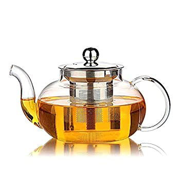HIWARE Good Glass Teapot with Stainless Steel Infuser & Lid Borosilicate Glass Tea Kettle Stovetop Safe Blooming & Loose Leaf Teapots 27 Ounce / 800 ml