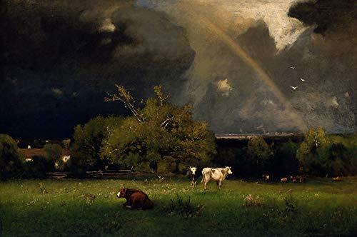 Arco-íris no Céu depois da Tempestade Gado no Pasto Região Rural Fazenda 1878 Pintura de George Inness na Tela em Vários Tamanhos (120 cm X 80 cm tamanho da imagem)