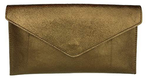 Girly Handbags Mujer Cuero de Gamuza Envelope Clutch Pulsera Piel Auténtica Rígido Bolso bandolera Cobre Metálico