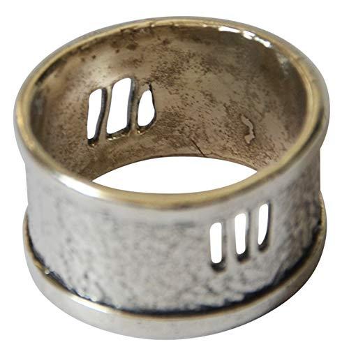 Damen Herren Ring Silberringe Fingerringe Bandring Vintage Retro aus 925 Sterlingsilber silber dunkel oxidiert Fenster 11mm breit Ringgrößen 50 bis 60