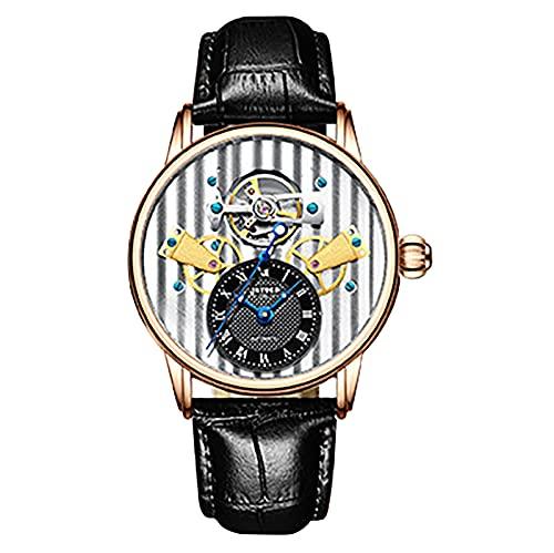 Shmtfa Hombres De Negocios Relojes AutomáTico Esqueleto Tourbillon Relojes De Pulsera MecáNicos 30M Vida CronóGrafo Impermeable con Manos Luminosas(Blanco + Negro)
