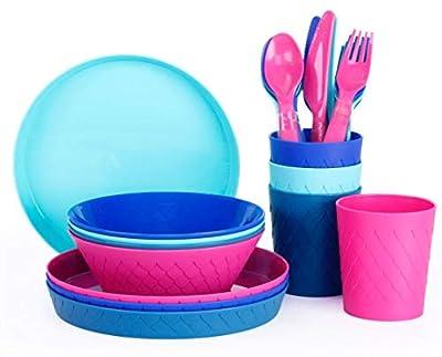 Klickpick Home Plastic Dinnerware Set Of 24 Pieces 4 colors Kids Dinnerware Set Includes, Kids Cups, Kids Plates, Kids Bowls, Flatware Set, Toddler Dishes Set are Reusable, Microwave - Dishwasher Safe