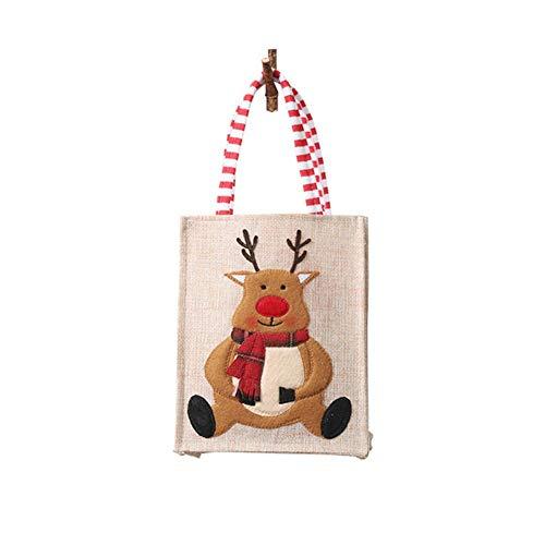 Kersttas Kerstmis geschenktas handtas boodschappentas, geschenktas snoepzak, driedimensionaal geborduurde handtas voor kindergeschenk C