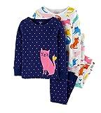 Carter's Girls Pijamas PJs 4pc Algodón Snug Swan Set Rayas - Azul - 12 meses