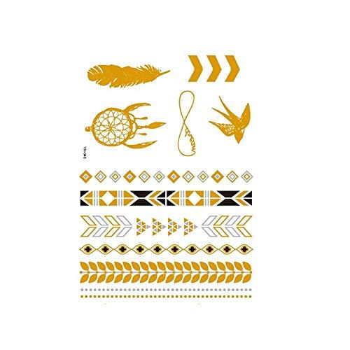 Autocollants de tatouage bronzage rétro autocollants de tatouage imperméables ensemble autocollants d'impression de couleur argent chaud-YH-048_148 * 210MM