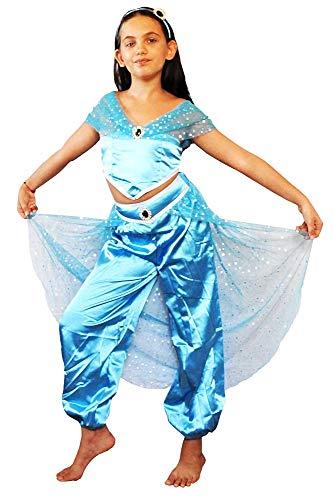 Jasmijnjurk voor meisjes - arabier - prinses - odalisque - vermomming - hallowen - carnaval - meisjes - lichtblauw - origineel cadeau-idee - 10 - maat 150-11 jaar cosplay