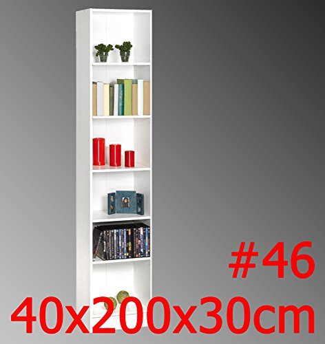 habeig Regal DICO Weiss Standregal Bücherregal Badregal TV-Regal HiFi-Regal Büroregal (#46 200x40x30cm)
