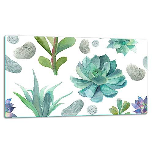TMK   Tabla de cortar de cristal, placa para cubrir la vitrocerámica de 1 pieza, placa de corte de cristal, protección contra salpicaduras, placa de cristal universal, 52 x 30 cm, diseño de cactus