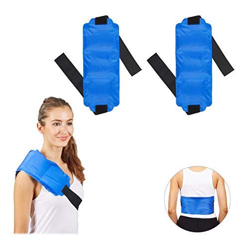 2 x Kühlpad groß, Schulter & Rücken, Klettverschlussband, Gel, warm & kalt, Erste Hilfe Mehrfachkompresse, blau