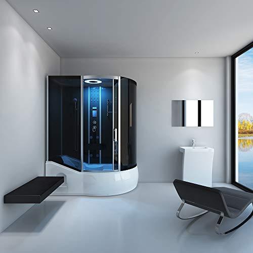 Home Deluxe ALL IN 4in1 Duschtempel, inkl. Dampfsauna und komplettem Zubehör (schwarz, rechts) - 2