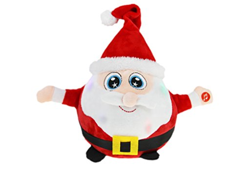 """8.7"""" Animated Musical Santa Claus Figure Soft Plush Stuffed Toy Doll Lights up Singing Christmas Figurine Decorations Electric Home Ornament Decoration Toys for Kids Birthday Present"""