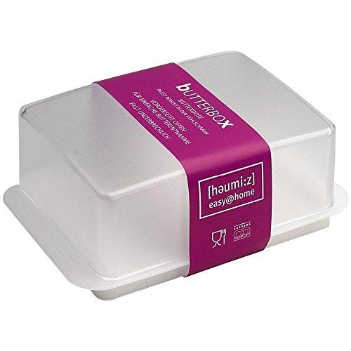 homiez 302301 Kühlschrank-Butterdose, für 250g Butter, weiß/transparent (2 Stück)