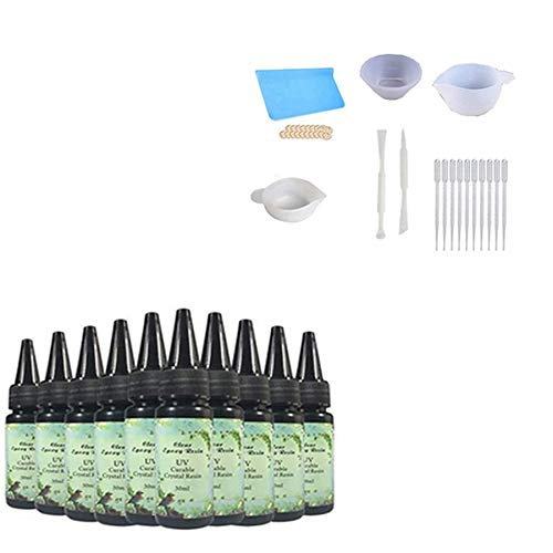 10Pcs 30 ml de pegamento de resina UV de cristal de actualización + 6 tipos de herramienta de resina de silicona, palillo, tapete y cunas para los dedos para fundir y revestir la fabricación de joyas