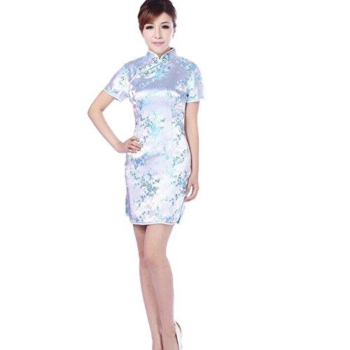 Hzjundasi Chino Mujer Festive Clásica flor del ciruelo Impreso Cheongsam Brocado Mangas cortas Qipao Vestido XL