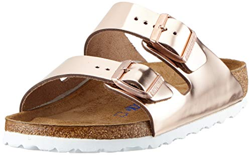 BIRKENSTOCK Damen Arizona Leder Softfootbed Pantoletten, Braun (Metallic Copper), 37 EU
