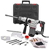 XtremepowerUS Deluxe 1200w Electric Rotary Hammer SDS Plus Drill Swivel Adjustable Handle Drilling Chisel Flat Bit w/Carrying Case