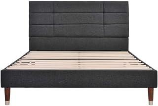 Mmrm2 Lit rembourré Blendx - Lit double avec tiroir de lit et sommier à lattes - Cadre de lit capitonné - Tête de lit - Po...