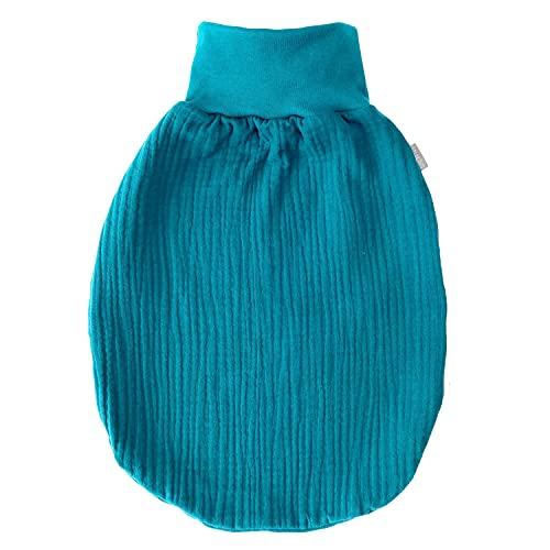 Lilakind Saco de dormir de muselina para bebé, fabricado en Alemania, bayas, rosa, gris, verde, petróleo, sin forro, tallas S-XXL, petróleo, S