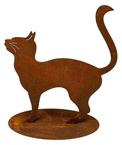 Manufaktur-Lichtbogen Edelrost Gartenfigur Katze 29 cm hoch Rost Gartendeko mit Bodenplatte