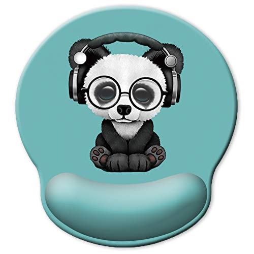 ITNRSIIET [30% Larger] Ergonomic Mouse Pad with Gel Wrist Rest Support, Personalized Cute Green Pattern Headset Music Panda, Pain Relief Comfort Wrist Rest Pad with Non-Slip PU Base for PC and laptops