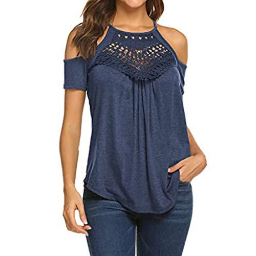 T-Shirt Damen Trägerlos Kurzarm Oberteile Spleißen Aushöhlen Spitze Mode Sexy Einfarbig Streetwear Sommer Chic Weiches Shirt Sport Shirt XL