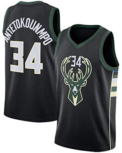 Herren Basketball Trikot NBA Bucks # 34 Giannis Antetokounmpo Coole Atmungsaktive All-Star Unisex Fan Uniform Uniform Ärmellose Weste Top Kleidung,XL(180~185CM/85~95KG)