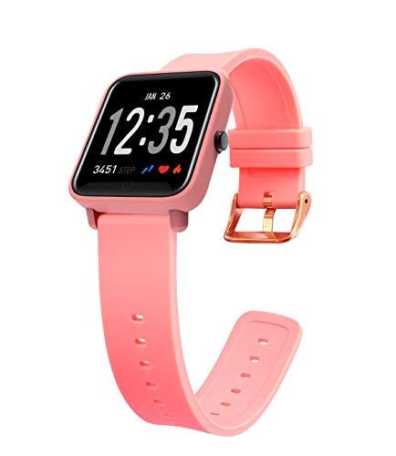 Fitness Tracker Watch, Color Screen Activity Tracker Watch Heart Rate Monitor IP67 Waterproof Smart Wristband Blood Pressure Monitor Sleep Monitor Pedometer Kids Women Men (Pink)