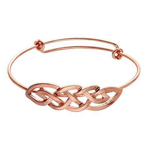 SENFAI Celtic Knot Infinity Expandable Bracelets Good Luck Cross Vintage Bangle (Rose Gold)
