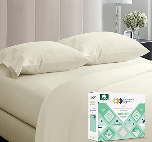 California Design Den 600-Thread-Count 100% Cotton Sheets Ivory King Size