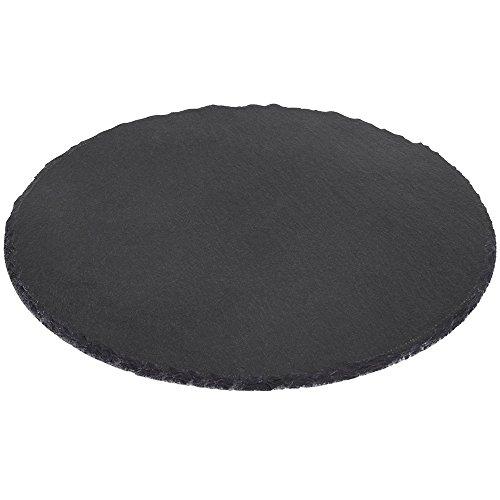 Kesper Buffet-Platte, Servierplatte, Schieferplatte, rund, aus Schiefer, geölt, Höhe: 9 mm, Durchmesser: 355 mm, schwarz