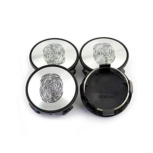 tieoqioan 4pcs 62mm Tapas de Cubo de Rueda con Emblema de Huella Digital para 2006 17'5 radios Cubierta de Llantas de aleación