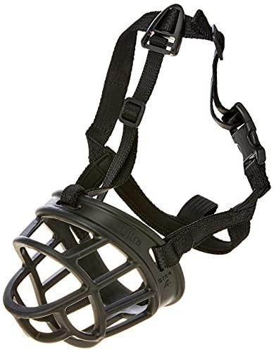Baskerville Ultra Muzzle | Seguro y furete perro amigable bozal para perros medios, talla 4 negra