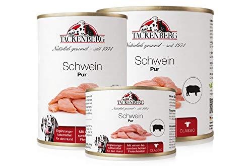 Tackenberg Hundefutter, Nassfutter für Hunde, 100% Schwein pur, getreidefrei, Premium Dosenfutter