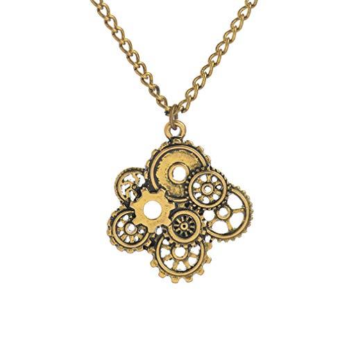 Qiyun.z Gears Combinado DIY Steampunk Collar Vintage Colgantes Joyas Oro