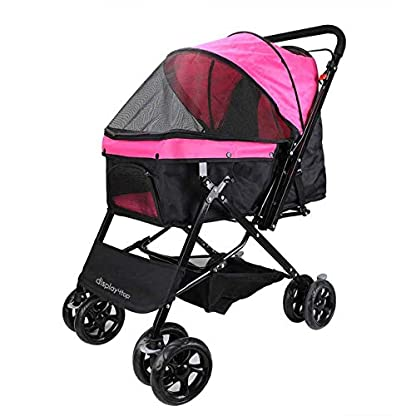 Display4top Pink Pet Travel Stroller, Foldable Four-Wheeled Trolley Suspension Commutation Cat and Dog Cart Large Travel Supplies Travel Goods Gear 1
