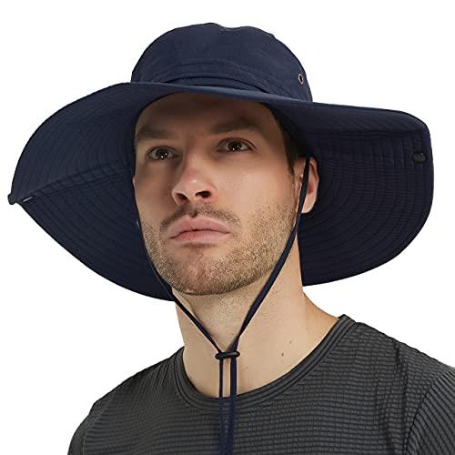 Super Wide Brim Sun Hat-UPF50+ Waterproof Bucket Hat for Fishing, Hiking, Camping (U044 Navy Blue)