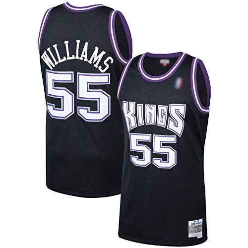 THDB Camiseta de baloncesto al aire libre Jason Sacramento NO.55 Negro, Kings Williams 2000-01 Hardwood Classics Swingman Player Jersey transpirable casual camisetas para hombres