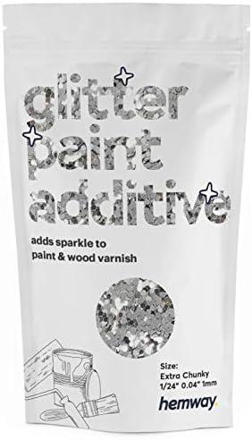 Hemway Glitter Paint Additive Extra Chunky 1 24 0 040 1MM Emulsion Acrylic Water Based Paints product image