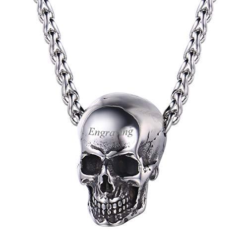 U7 Collar Personalizable Colgante Cráneo Calavera Estilo Punk Acero Inoxidable Chapado en Oro/Negro Colgante Hombre con Caja de Regalo
