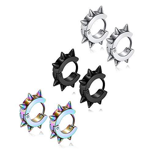 Jovivi. 3 pares de pendientes estilo Punk para hombres y mujeres. Joyas de acero inoxidable.Pendientes de aro con pinchos