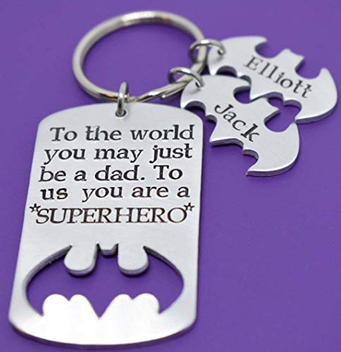 Fathers Day Gift - Personalized father's day gift - Fathers day gift - Dad Keychain - DAD Gift - Superhero Dad - Daddy and Kids